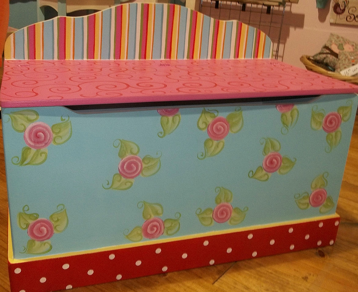 Girls Toy Chest Toy Boxes Roses Owls Birds Chevron Pink Shabby